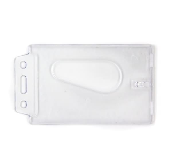 Closed face rigid badge holder