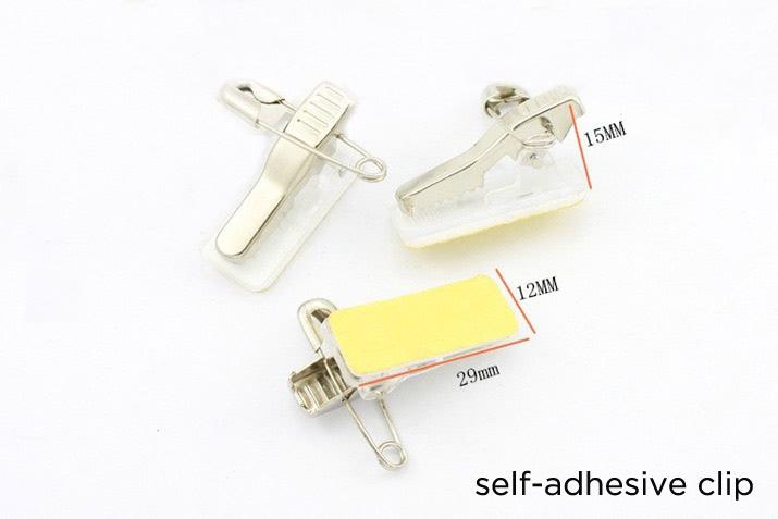 self-adhesive badge clip